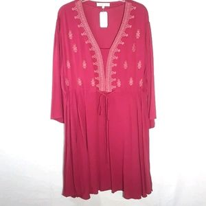 Indigo Soul red boho long sleeve midi dress XL
